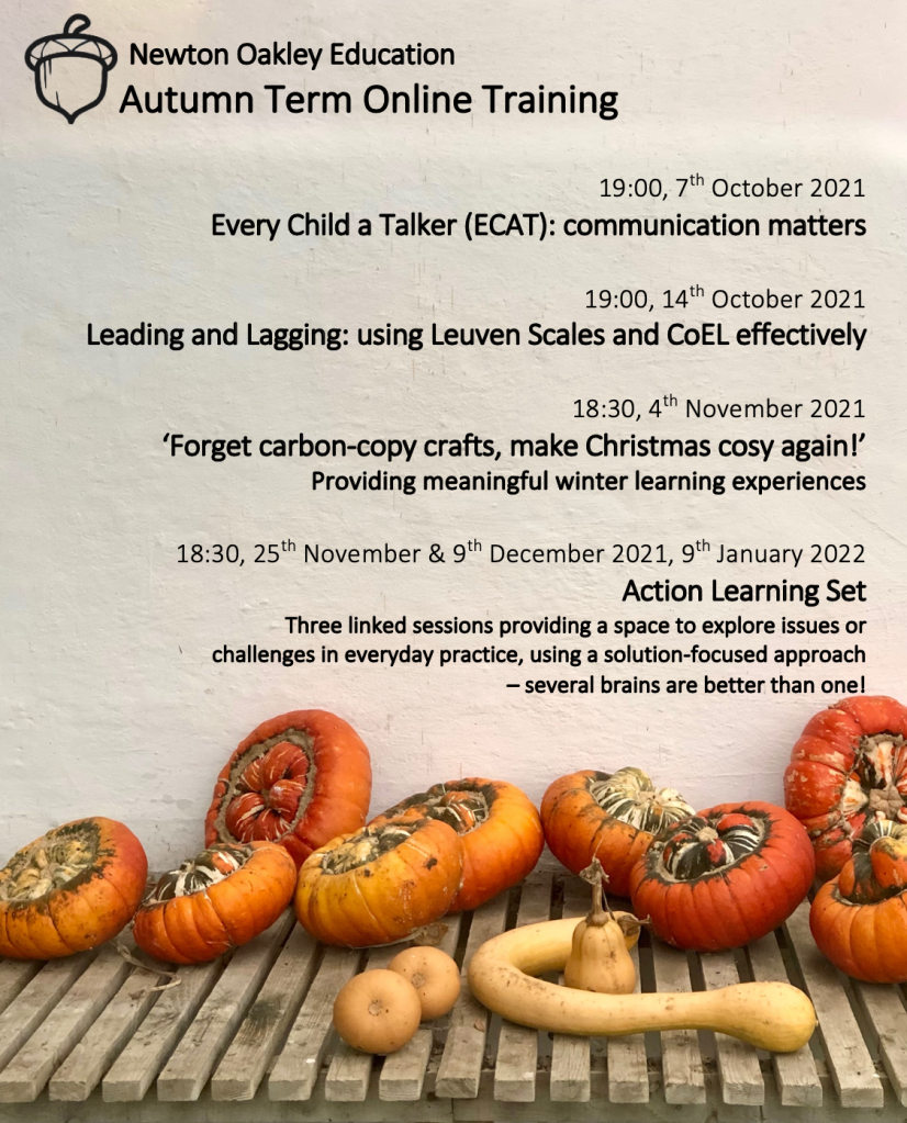 tion: a variety of heirloom pumpkins and squashes on a slatted bench sit before a whitewashed wall, with training dates overlaid.